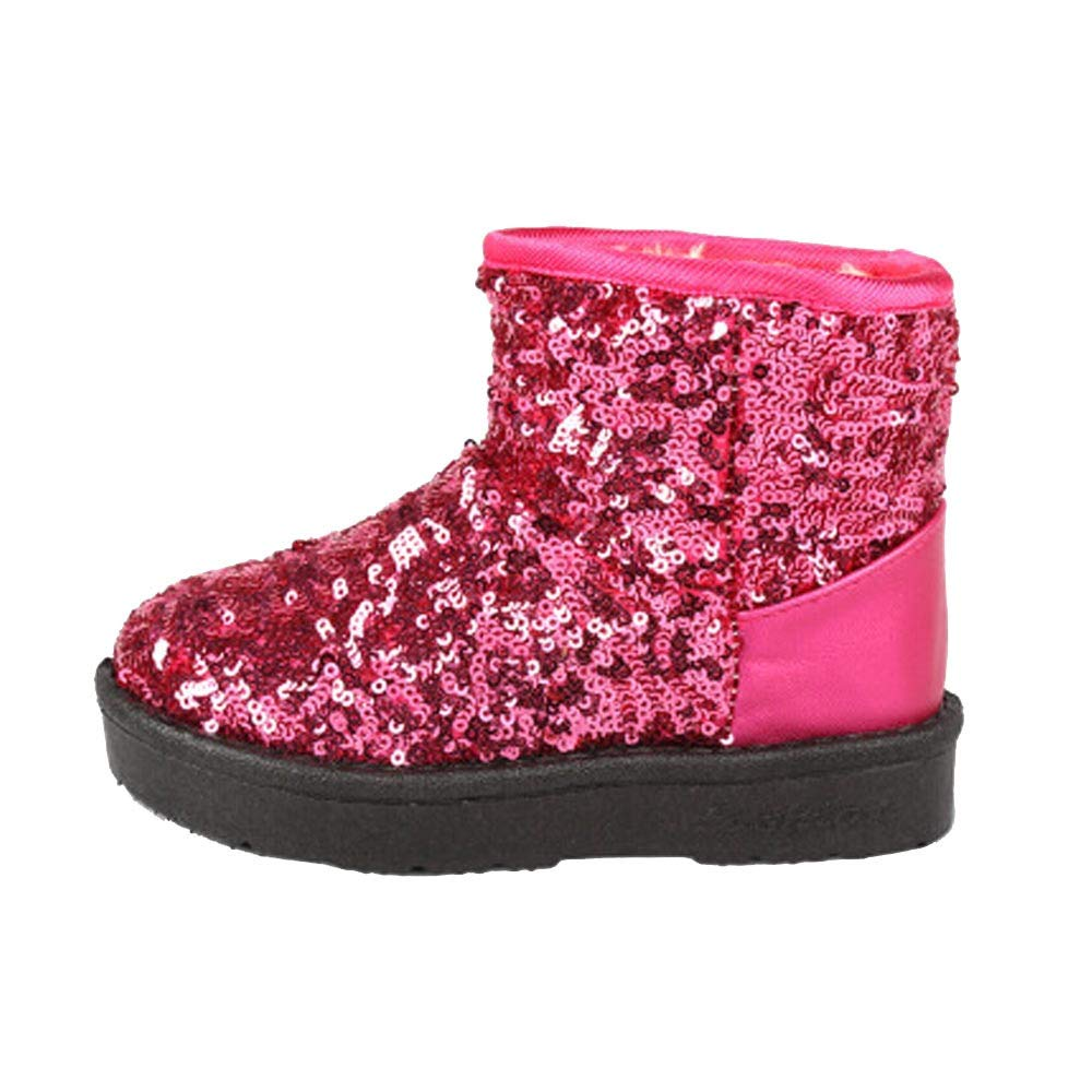 Robemon Infant Toddler Bébé Filles Paillettes Bottes Garçons Enfants d'hiver Épais Neige Bottes Chaussures (1-5.5Ans)