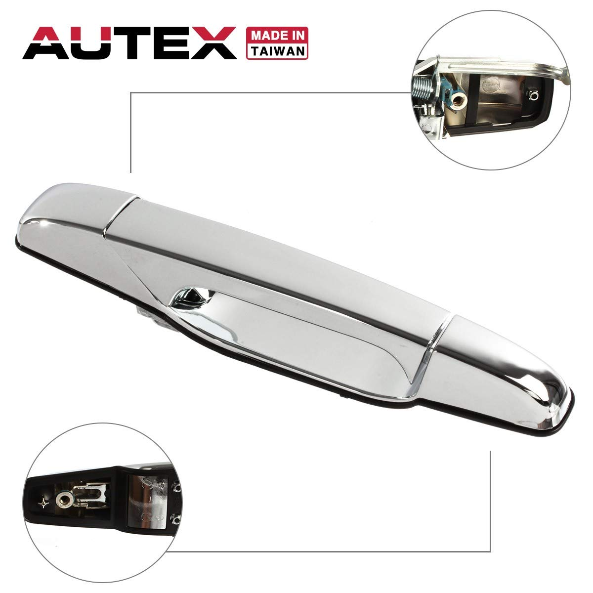 AUTEX Chrome Exterior Door Handle Rear Right Compatible with Cadillac Escalade 07 08 09 2010 2011 2012 2013 2014 Chevy Silverado GMC Sierra 1500 2500 3500 Chevy Tahoe GMC Yukon Door Handle 80547 PartsSquare