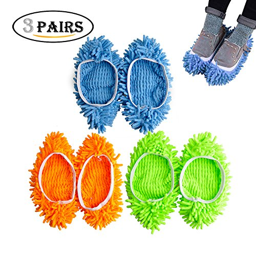 Kamlif 3 Pairs Washable Dust Mop Slippers Microfiber Cleaning Mop Slippers Shoes Dust Floor Cleaner Multi-Function Floor Cleaning Shoes Cover (Green, Blue, Yellow) (Green,Blue,Yellow 3pairs)