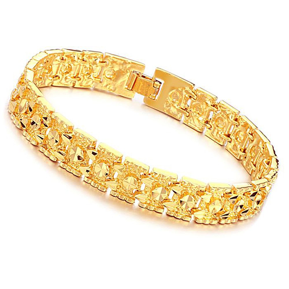 Amazon.com: Lary Jewelry Luxury 18K Gold Plated Men\'s Bracelets ...