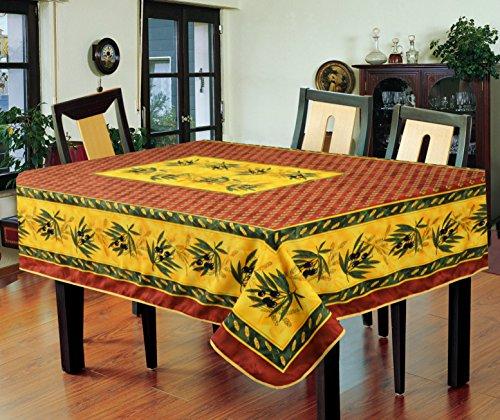78x58 Inch Polyester Tablecloth - Ramatuelle , Black (Bullseye Olive)