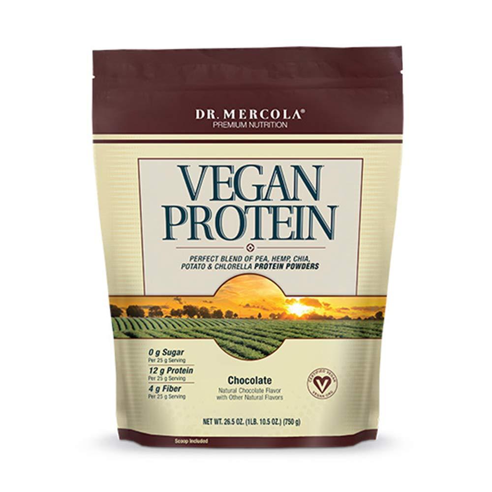 Dr. Mercola Vegan Protein Chocolate - Perfect Blend Of Pea, Hemp, Chia, Chlorella & Potato Proteins - Gluten-Free - Naturally Flavored - 1 lb 6.5 oz (750g)