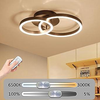 Braun Modern Einfachheit Aluminium Deckenlampe LED Stufenlos Dimmbar  Deckenleuchte Acryl Lampenschirm Schlafzimmer Wohnzimmer Ultra Dünn
