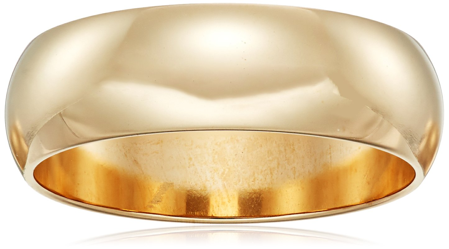 Classic Fit 10K Yellow Gold Band, 6mm, Size 12.5 by Amazon Collection