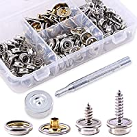 Glarks 120-Pieces Stainless Steel Marine Grade Canvas and Upholstery Boat Cover Snap Button Fastener Kit with 2Pcs Setting Tool (40 Sets)- Silver