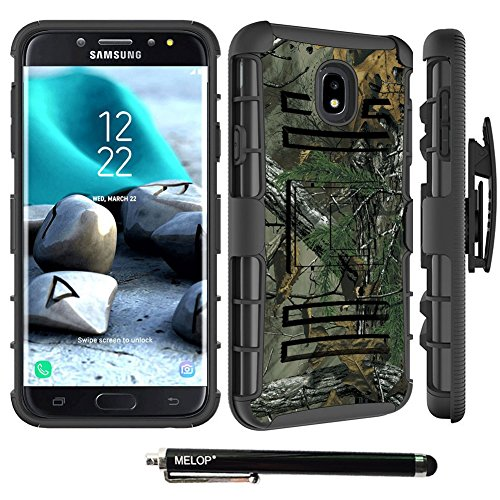 (Case for Samsung Galaxy J7 2018, J7 Aero /J7 Top/ J7 Crown/ J7 Aura/ J7 Refine/ J7 Star/ J7 Eon Case, MELOP Three Layer Swivel Belt Clip with Kickstand Holster Built-in Armor Case for J72018 - Camo)