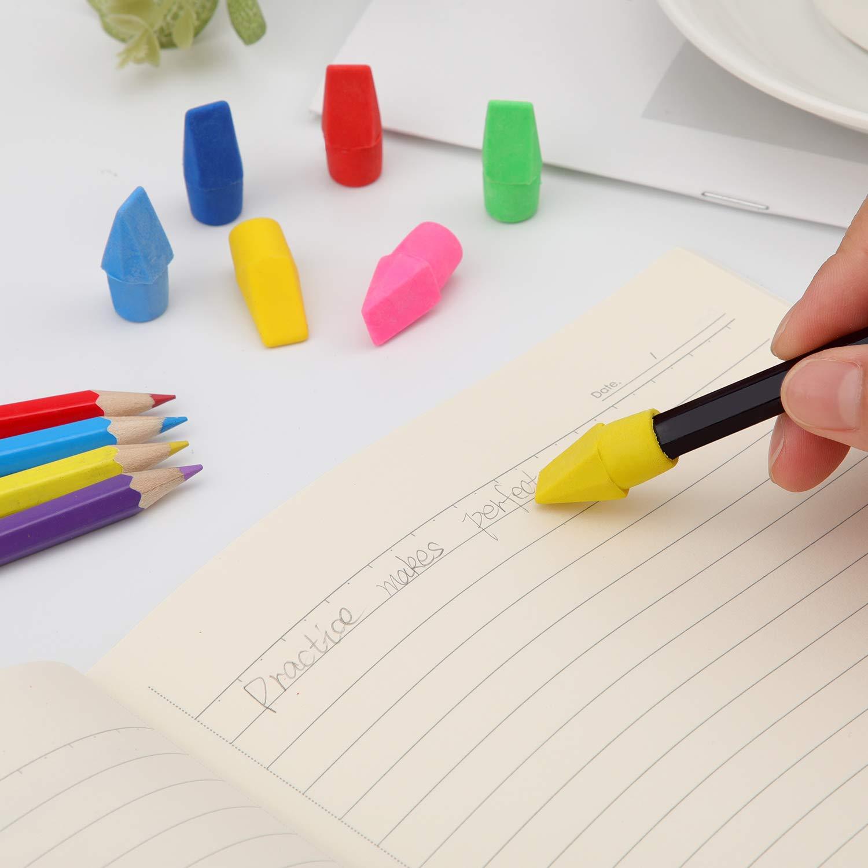 150 piezas L/ápiz gomas de borrar superiores L/ápices de colores Borradores de borrador para la oficina de la escuela Papeler/ía estudiantil