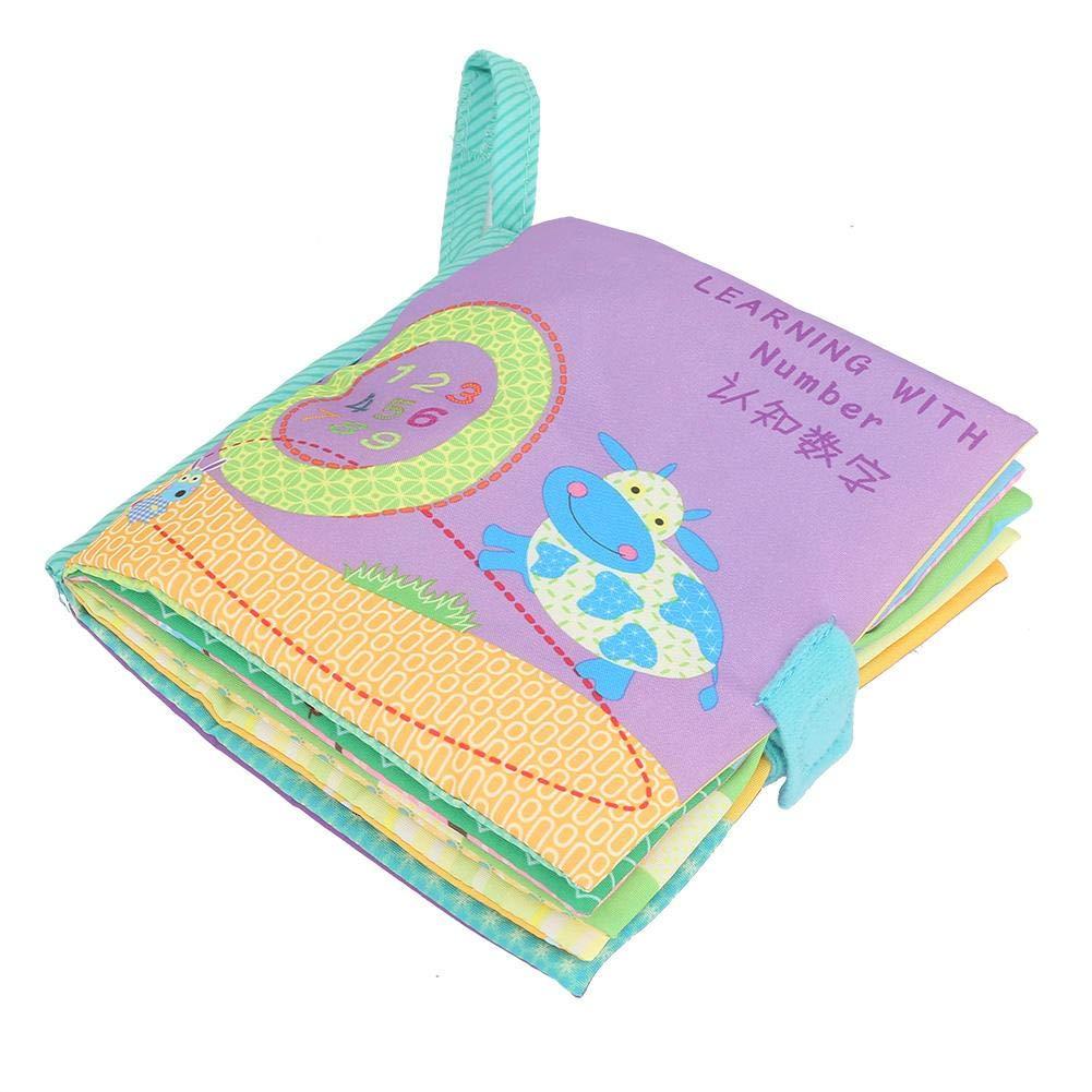 Figure Libro Blando de Beb/é Aprendizaje y Educativo Libro de Tela Actividad Colorida Crinkle Animal Book Educaci/ón temprana Squeak Rattle Cloth Libro de Juguetes para un ni/ño de 1 a/ño Zerodis