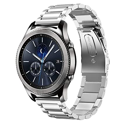 IdeaPlus Stainless Steel Watch Band for Samsung Gear S3 Frontier - 22mm Replacement Metal Wrist Strap with Dual Folding Clasp Buckle and 3 Adjustable ...