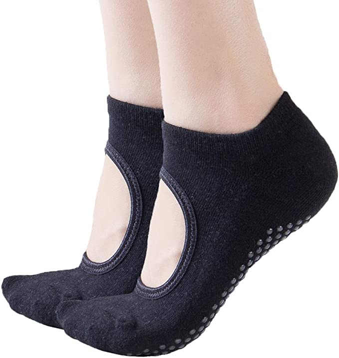 Toes&Feet Womens Padded Anti-Slip Grips Yoga Pilates Ballet Barre PiYo Socks