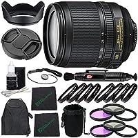 Nikon AF-S DX NIKKOR 18-105mm f/3.5-5.6G ED VR Lens + 77mm 3 Piece Filter Set (UV, CPL, FL) + 77mm +1 +2 +4 +10 Close-Up Macro Filter Set with Pouch + Lens Cap + Lens Hood + Lens Cleaning Pen Bundle