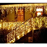 NOVADEAL 110V 3.5M/11ft 96 LED Linkable Fairy Curtain String Light with 8 Modes For Indoor/Outdoor/Garden/Patio/Christmas Party Holiday Decoration - Warm White