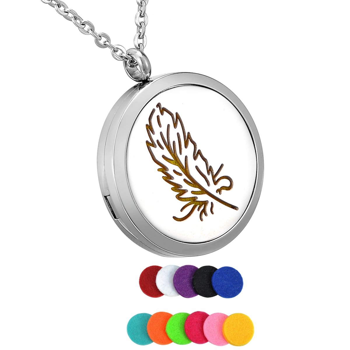 HooAMI Aromatherapy Essential Oil Diffuser Necklace - Feather Stainless Steel Locket Pendant