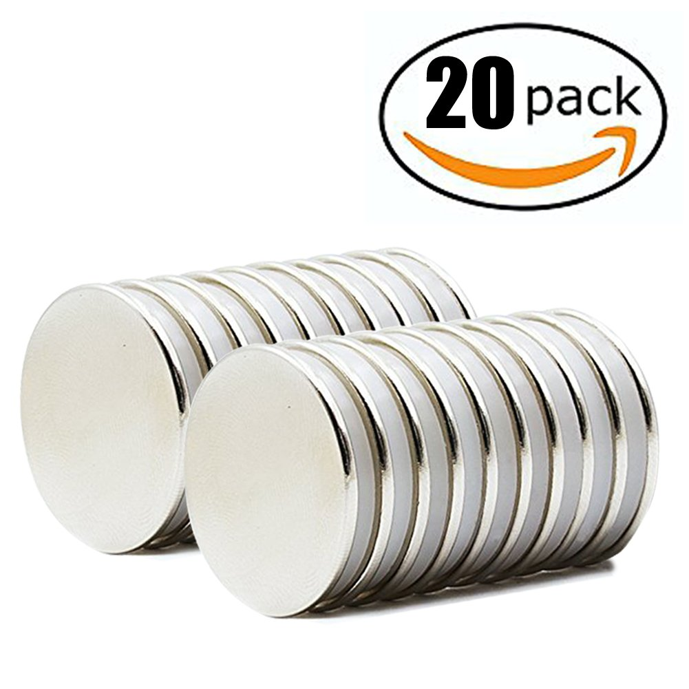 HTCARE Powerful Neodymium Disc Magnets, Strong, Permanent, Rare Earth Magnets. Fridge, DIY, Scientific, Craft, and Office Magnets - 1.26'' D x 0.08'' H, Pack of 20