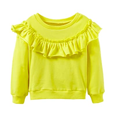 Hot Sale Baby Girls Ruffle Pullover, Keepfit Comfy Solid Toddler Kids Sweatshirt Tops T-Shirt Warm Clothes