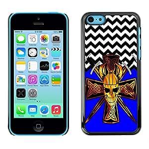 SUPER PIG CASE - Devil Cross Chevron Pattern - FOR iPhone 5C - Hard Case Cover Shell