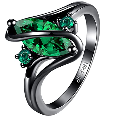 BOHG Jewelry Womens Black Gold Plated Emerald Green Cubic Zirconia CZ Stones Halo Engagement Wedding Ring