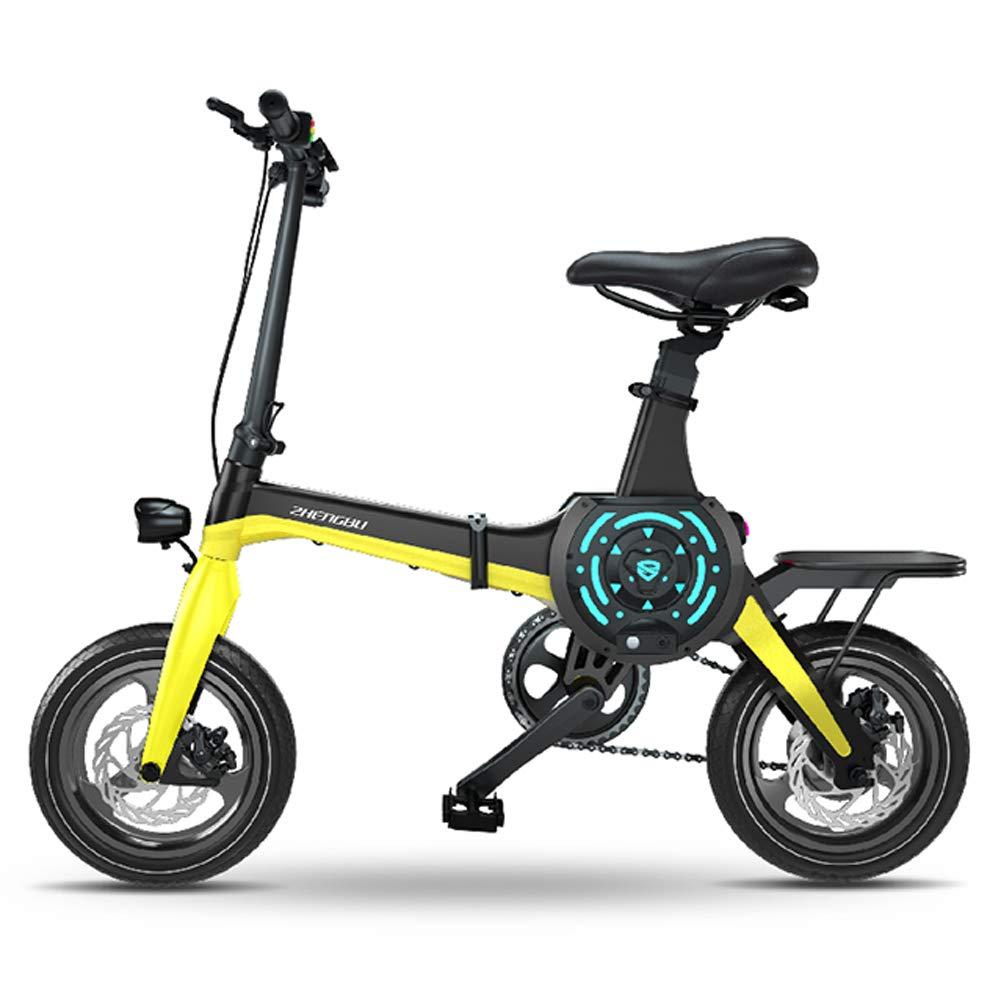 電動自転車14インチポータブル折りたたみ電動マウンテンバイク大人の36Vリチウムイオン電池電動自転車400W高出力モーターに適しています車に収納しやすい大人向け,イエロー 黄