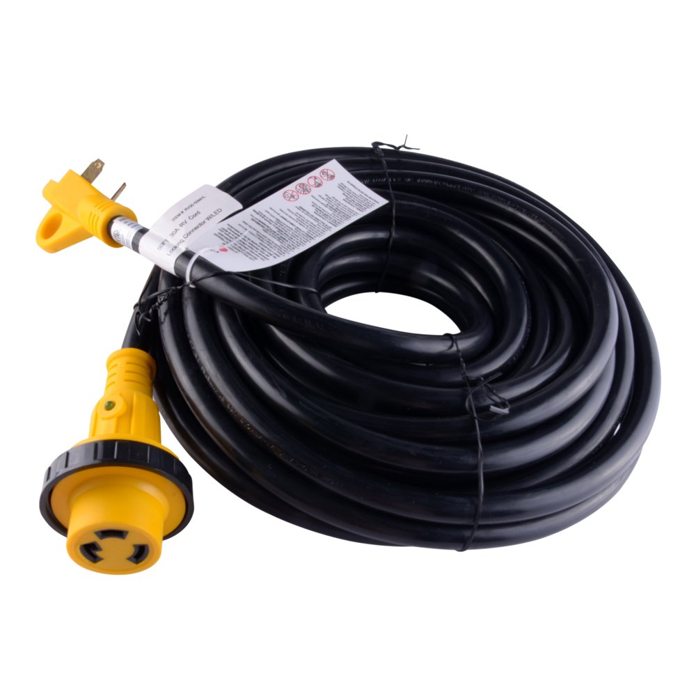 LeisureCords 50 Power Extension Cord with 30 AMP Male Standard//30AMP Female Locking Adapter