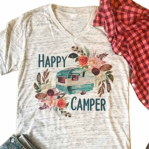 MBQMBSS Womens T-shirtLadies Summer Colorful V Neck Shirt Casual Short Sleeved Printed Happy Camper Tops Loose Tee (Picture Color 1L)