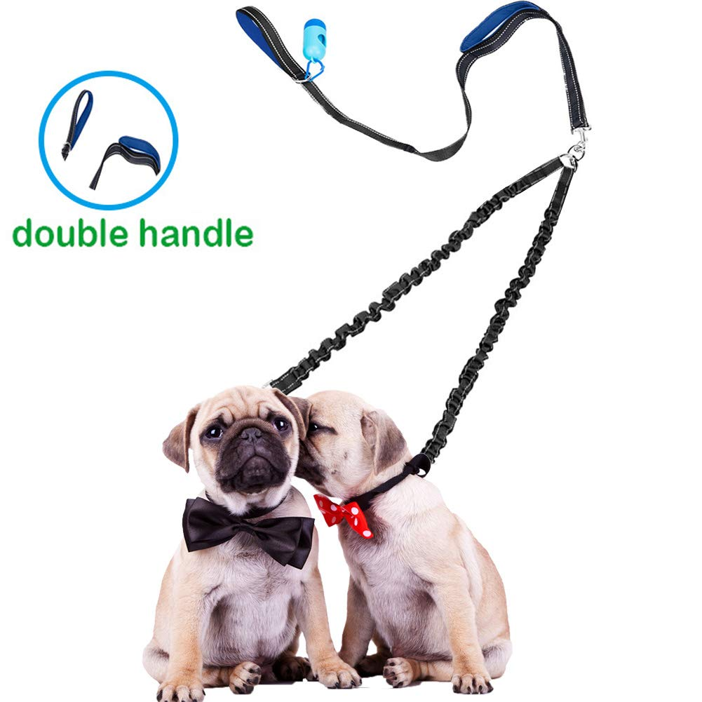 Two Handles Double Dog Leash, Shock Absorbing Bungees No Tangle Two Dog Walking & Training Leash, Reflective Coupler Lead for 2 Dogs, Bonus Pet Waste Bag Dispenser by Snagle Paw