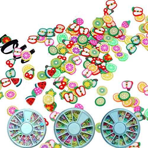Kamas 1 Wheel Fimo Fruit Slices Polymer Clay Nail Art Sticker Soft Ceramic Nail Decoration, Animal, Heart, Christmas Series DIY - (Color: 12)