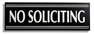 JP Signs - No Soliciting Sign - 9 X 3 Inch Engraved Premium Office Signage for Door (Black / White) - Not a Sticker - Keeps Unwanted Visitors Away – Highly Noticeable – Elegant for House or Office.