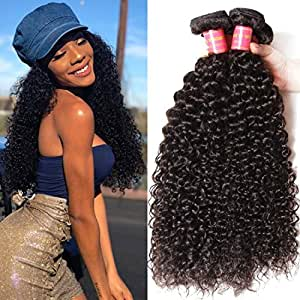 Klaiyi Hair 12 14 16inches Indian Hair 3 Bundles Curly Hair Extensions, Unprocessed Virgin Curly Human Hair Weave Weft, Natural Black Hair Color