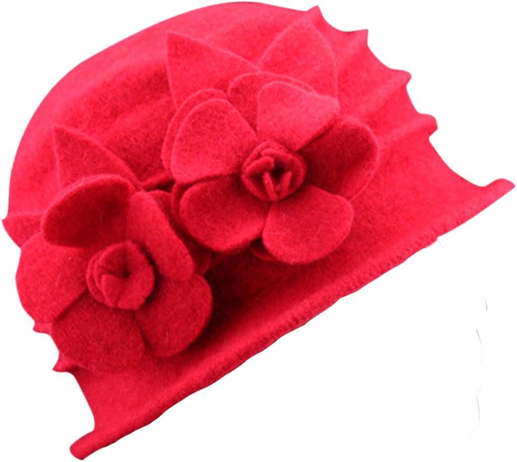 ZUMUii Butterme Hiver Femme Fleur /él/égante Laine Casquette Beret Chapeau Cloche Chapeau