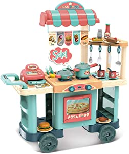 KIDTOY Mini Kitchen Playset Kids Cooking Toys, Kids Fast Food Truck with Realistic Sounds and Tableware Kitchen Utensils Pot and Pan Role Play Educational Toy for Age 1-3 (Multicolour)