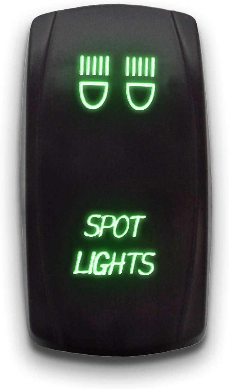 SPOT LIGHTS Green 20A 12V ON//OFF STARK 5-PIN Laser Etched LED Rocker Switch Dual Light