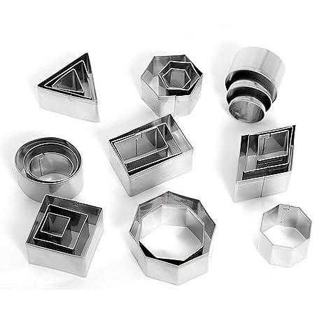 KAISHAN Cortadores de Galletas de Acero Inoxidable (Redondo triángulo Cuadrado Rectangular Rombos Hexagonal Oval Formas