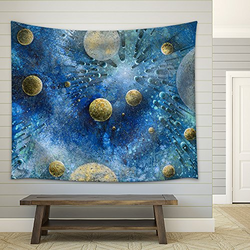 Abstract Picture Showing Lots of Planet Like Objects in Blue and Green Structured Cosmic Ambiance Fabric Wall