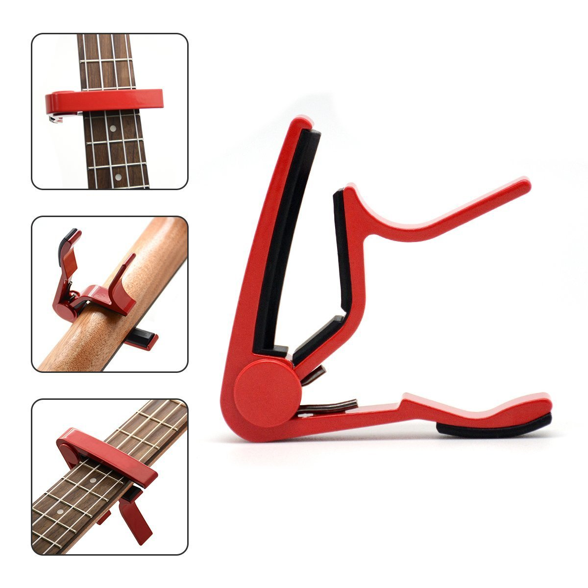 & capotasto per chitarra elettrica, acustica e chitarra elettrica, acustica a 6corde, anche per ukulele, Banjo, Basso, mandolino , Blue BSmusic