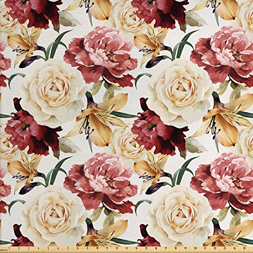 Roses Decor Fabric by the Yard by Ambesonne, Watercolor P...