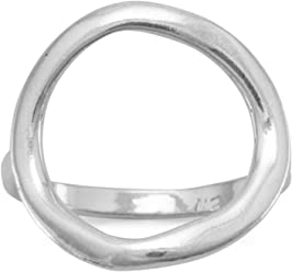 Textured Sterling Silver Open Circle Ring, Sizes 4-11, 5/8 inch wide