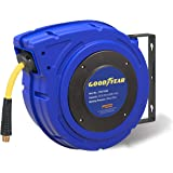 "GOODYEAR Air-Hose-Reel Retractable 3/8"" Inch x 50' Feet Premium Commercial Flex Hybrid Polymer Hose Max 300 Psi Heavy Duty Spring Driven Polypropylene Construction w/ Lead-in Hose & PVC Handle"