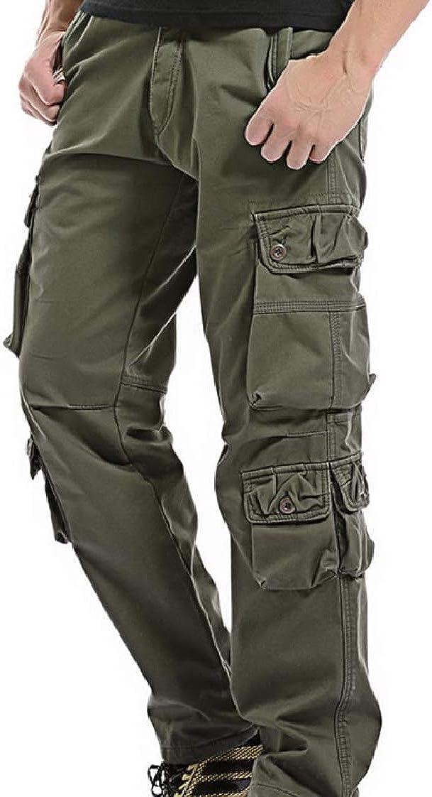 CuteRose Men Oversized Fleece Casual Multi-Pockets Thicken Combat Work Pants