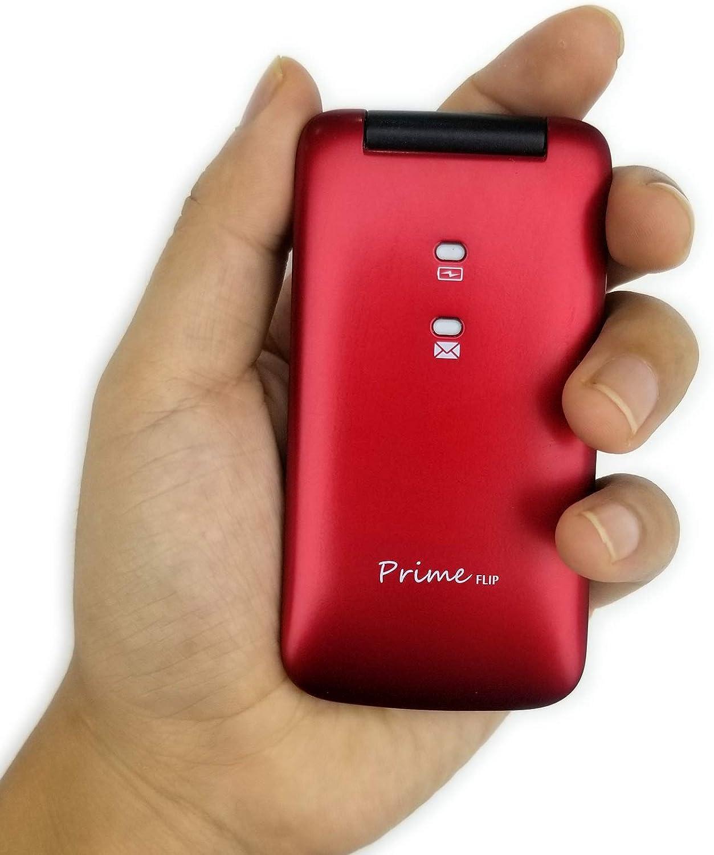 Easyfone Prime-Flip gsm Teléfono para Personas Mayores con Tapa, Teléfono móvil fácil de Usar con Botón SOS y Base de Carga (Rojo)