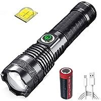 LUXJUMPER XHP70 Led-zaklamp, super helder, 8000 lumen, tactische zaklamp, USB-oplaadbaar, zoombaar, 5 modi, zaklamp…