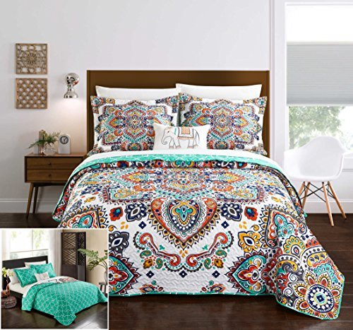 Chic Home 4 Piece Chagit Reversible Boho-inspired print and contemporary geometric patterned technique King Quilt Set Aqua (Clearance Quilt King)