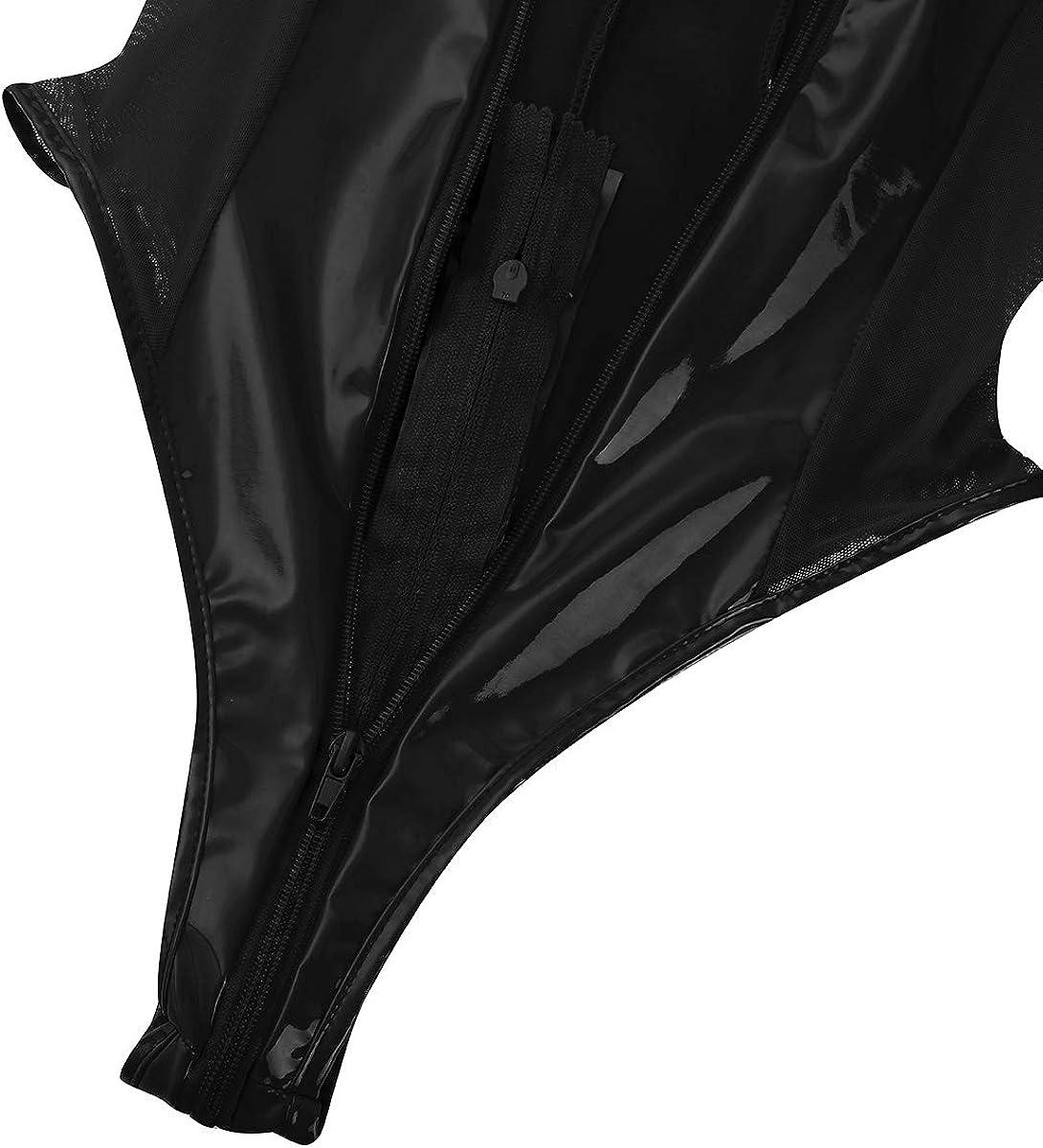 iixpin Women Wetlook Patent Leather See Through Mesh Splice Zipper Open Crotch High Cut Thong Bodysuit Swimsuit