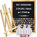 Felt Letter Board 12x16 with 960 Letters (White, Pink, Gold), 3 Travel Bags, Oak Stand, Scissors, and 60 Emojis (3 Colors). Square 10X10 inches Sign with Changeable Messages and Characters …