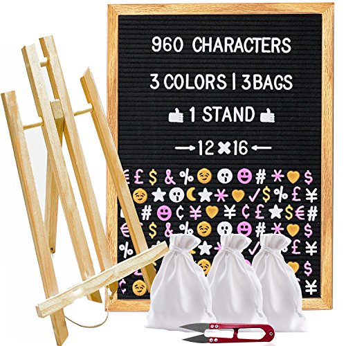 Felt Letter Board 12x16 with 960 Letters (White, Pink, Gold), 3 Travel Bags, Oak Stand, Scissors, and 60 Emojis (3 Colors). Square 10X10 inches Sign with Changeable Messages and Characters … by CuteCrafts