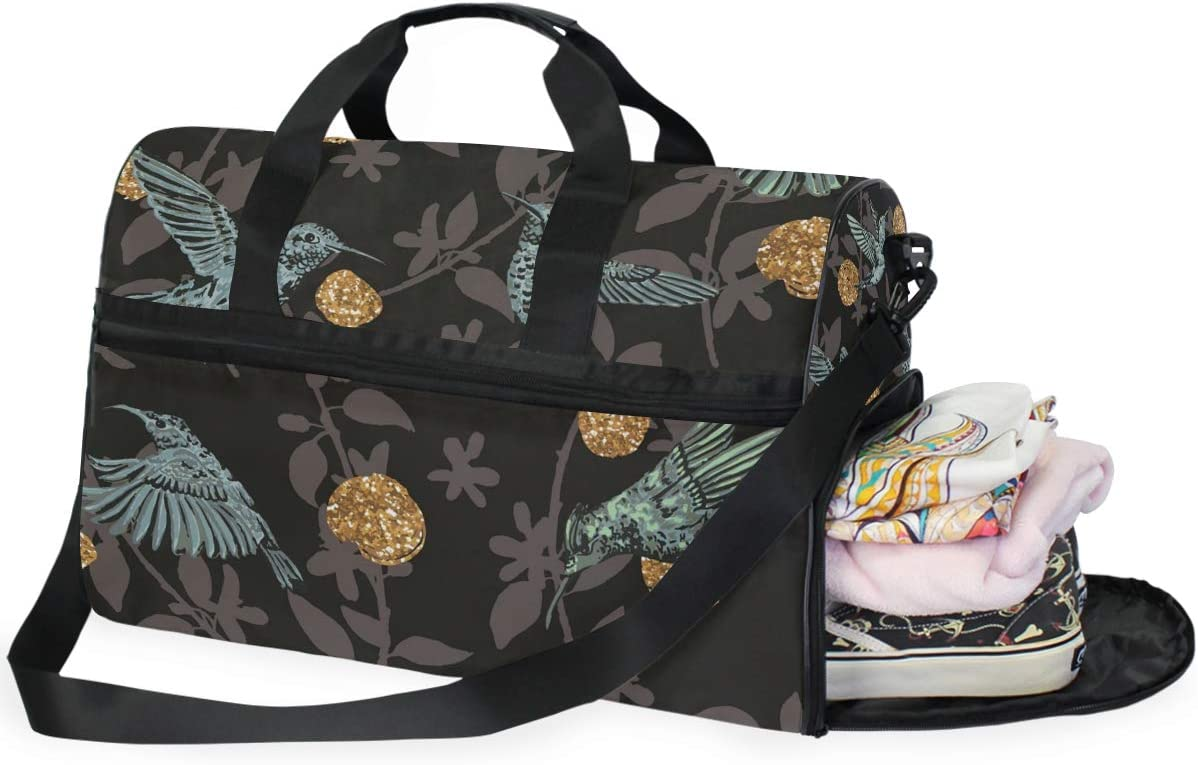 FAJRO Gym Bag Travel Duffel Express Weekender Bag Birds And Floral Black Background Carry On Luggage with Shoe Pouch