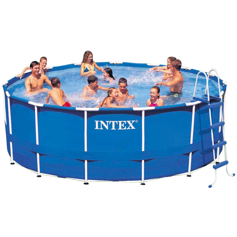 amazoncom intex 15ft x 48in metal frame pool set with filter pump ladder ground cloth pool cover garden outdoor - Intex Pools