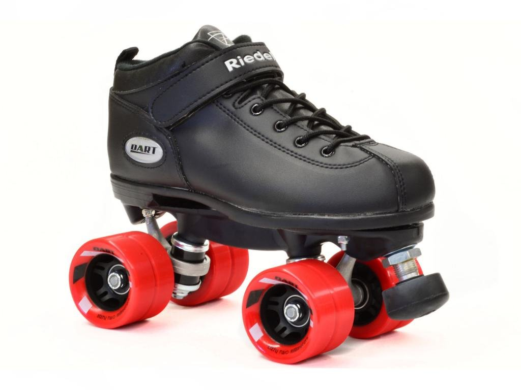 Riedell Dart Black Quad Speed Skates with Matching Laces for Roller Derby by Riedell