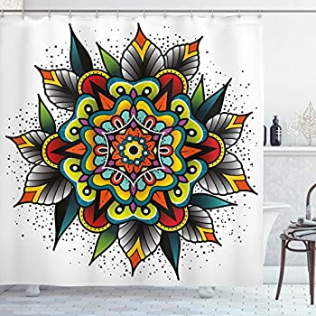 Ambesonne Tattoo Decor Shower Curtain by, Old School Motif with Flowers Leaves and Internal Mandala Figure Artisan Design, Fabric Bathroom Decor Set with Hooks, 70 Inches, Multi