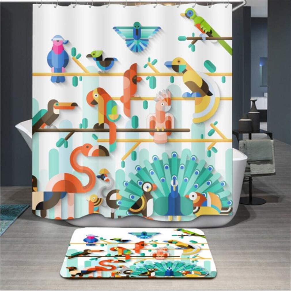 3D-Vorhang wasserdicht 39*70Inch//100*180cm Colorful Bird Peacock Cartoon Print schimmelresistent schimmelresistent, waschbar Baisheng Duschvorhang