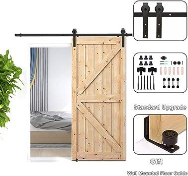 CCJH 10FT 305CM Acero Herraje para Puerta Corredera Kit de Accesorios para Puertas Correderas Juego de Piezas de Carril para Una Puerta, Con Un Regalo Gratis: Amazon.es: Bricolaje y herramientas